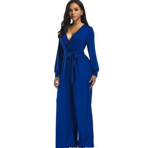 733ffe847b3 2018 sexy V neck Wide Leg Pants Elegant jumpsuits romper Blue Long Sleeve Plus  Size tunic Overalls For Women Combinaison Femme