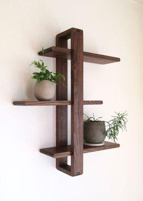 Modern Wall Shelf, Solid Walnut for Hanging Plants, Books, Photos. Handmade, Adjustable. Mid-century/Scandinavian Inspired