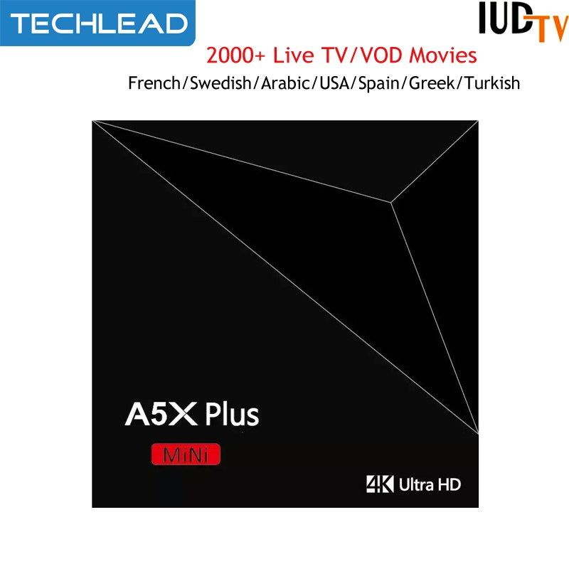 A5X plus Android TV Box RK3328 With 1 Year IUDTV Sweden