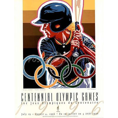 Hiro Yamagata Olympic Softball 1996 Atlanta Official Sports Poster Print 18x24