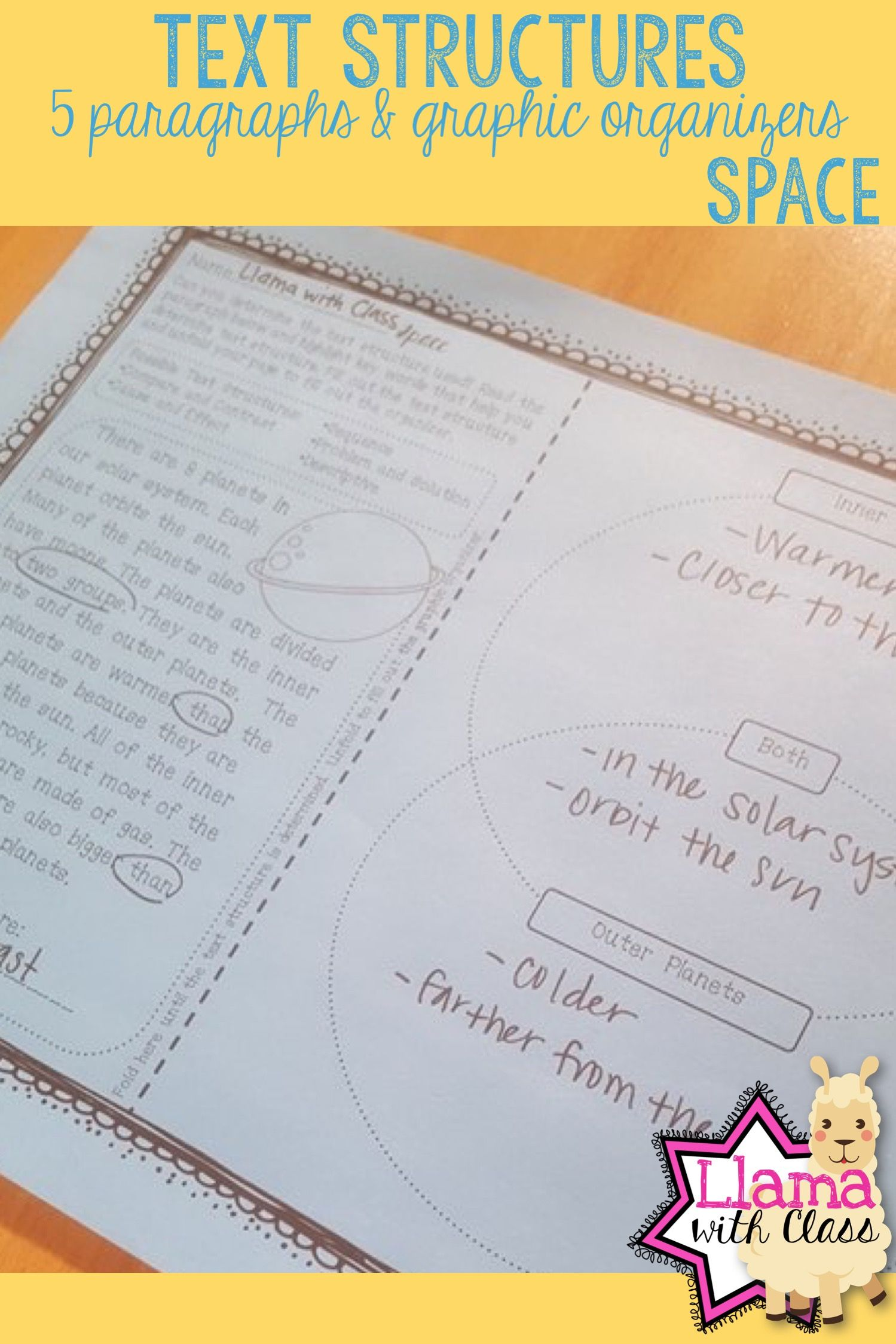 Space Text Structure Worksheets