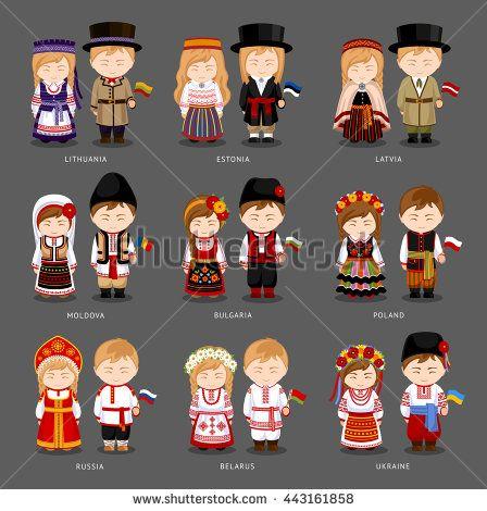 People In National Dress Latvia Lithuania Estonia
