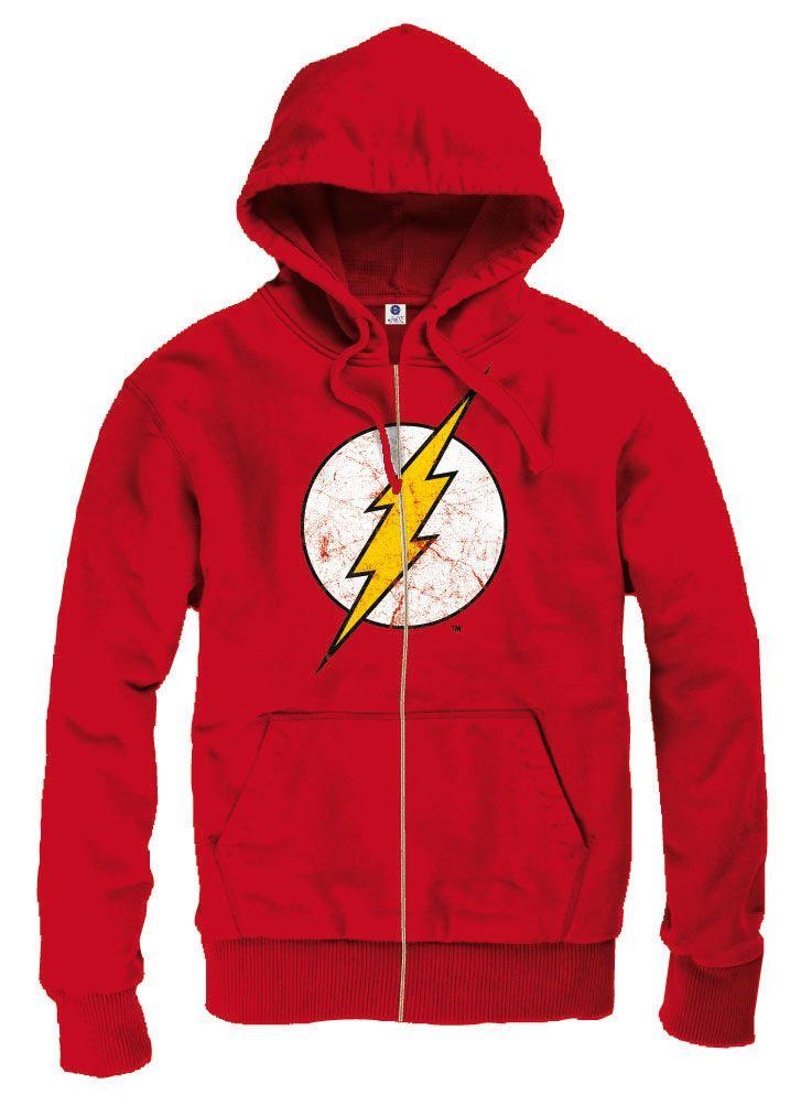 Sudadera con capucha logo gastado The Flash. DC Cómics Espectacular sudadera con el logo del héroe The Flash gastado y muy bien diseñado. Una sudadera con capucha y cremallera 100% oficial y licenciada que de buen seguro te gustará.