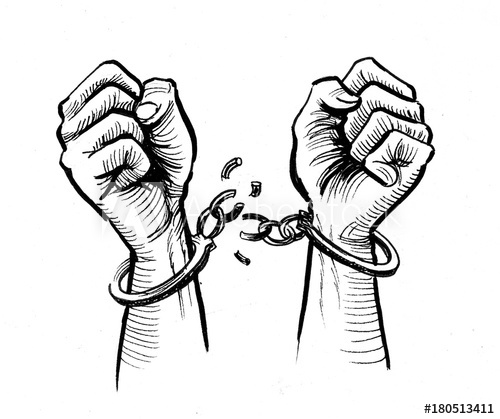 Ink Drawing Of A Hands Breaking Chains Buy This Stock Illustration And Explore Similar Illustrations At Adobe Prison Drawings Broken Drawings Freedom Drawing
