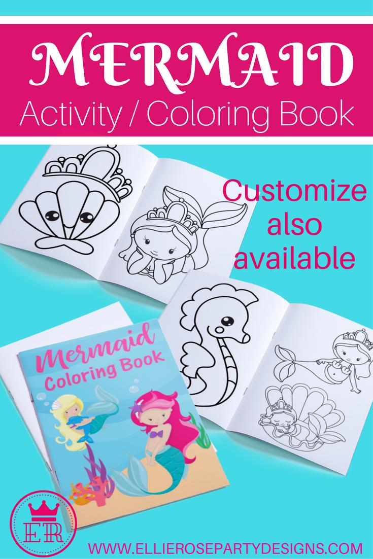 Mermaid coloring pages book printable easy diy mermaid party