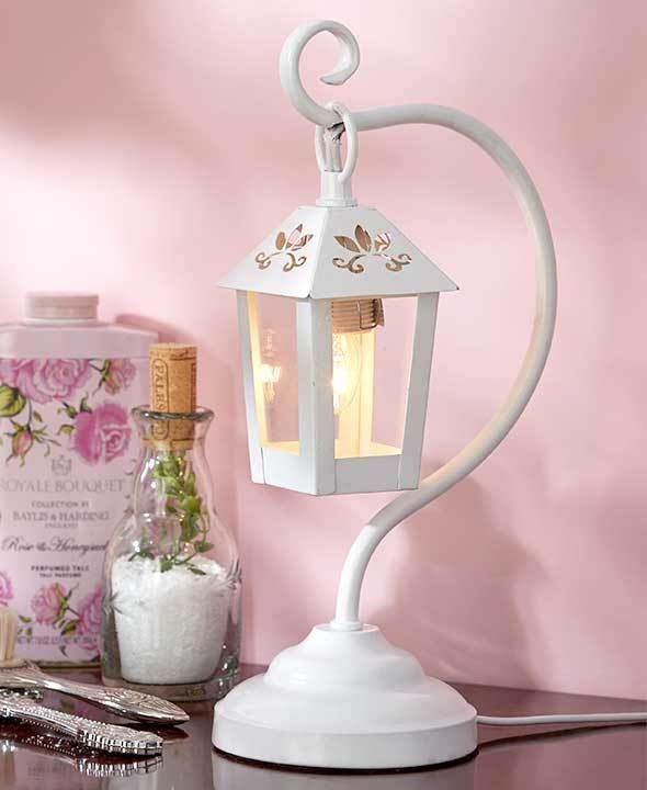 WHITE LANTERN TABLE LAMP ACCENT LIGHT COUNTRY LIVING ROOM BEDROOM ...