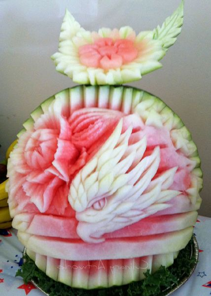 A watermelon carved to resemble an eagle | Food Art | Pinterest ...
