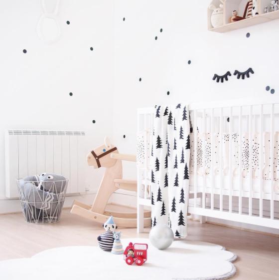 Dormitorio infantil original y moderno en blanco y negro - Habitacion bebe original ...