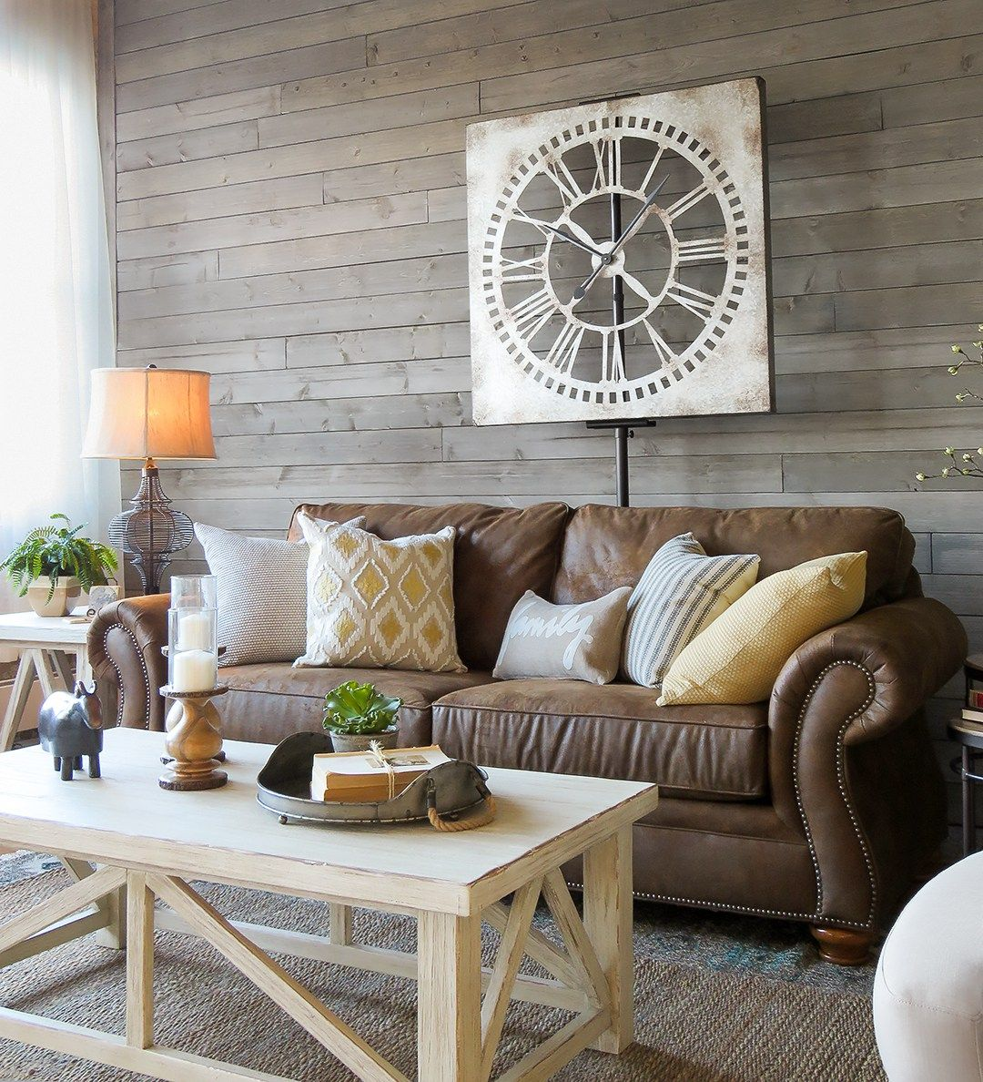 A Farmhouse Living Room That Will Make You Want A Brown Sofa Schneiderman S The Blog Design And Decorating Brown Living Room Decor Brown Couch Living Room Brown Sofa Living Room