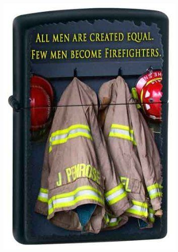"American Heros Firefighter Black Matte Zippo Lighter by Zippo. $28.58. American Hero Firefighter Black Matte Zippo Lighter.  ""All Men are Created Equal  Few Men Become Firefighter"""