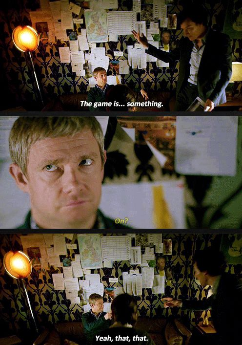 the game is... something. gifset - sherlock series 3 episode 2 the sign of three
