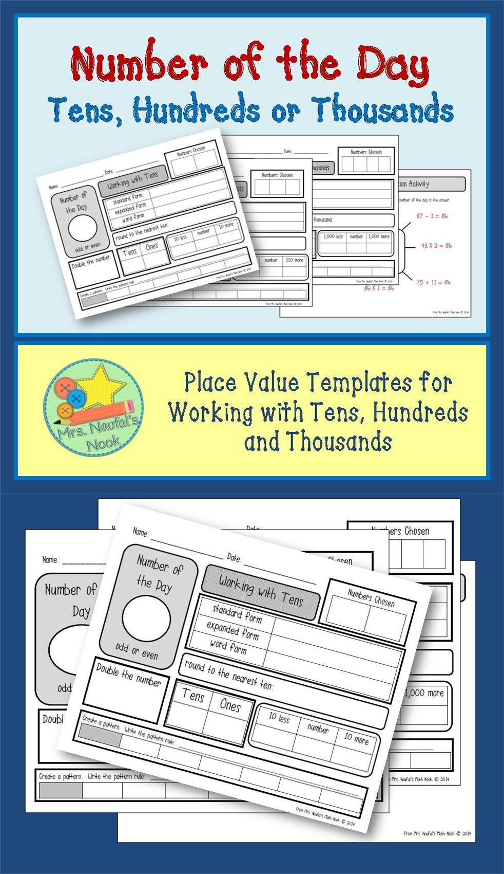 Place Value Number of the Day - Tens, Hundreds or Thousands | Math ...