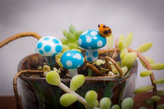 Fairy Garden Mushrooms in Bright Blue with by FairyRingsTinyThings