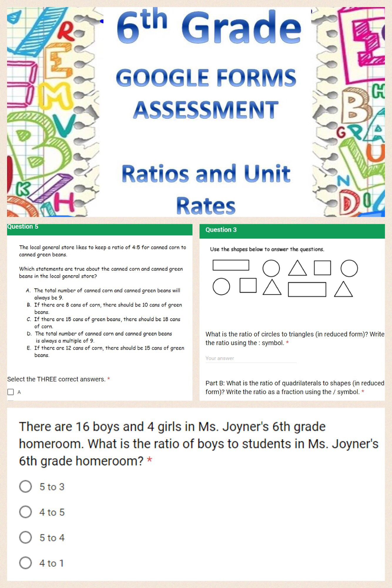 6th Grade Ratios And Unit Rates Forms Assessment