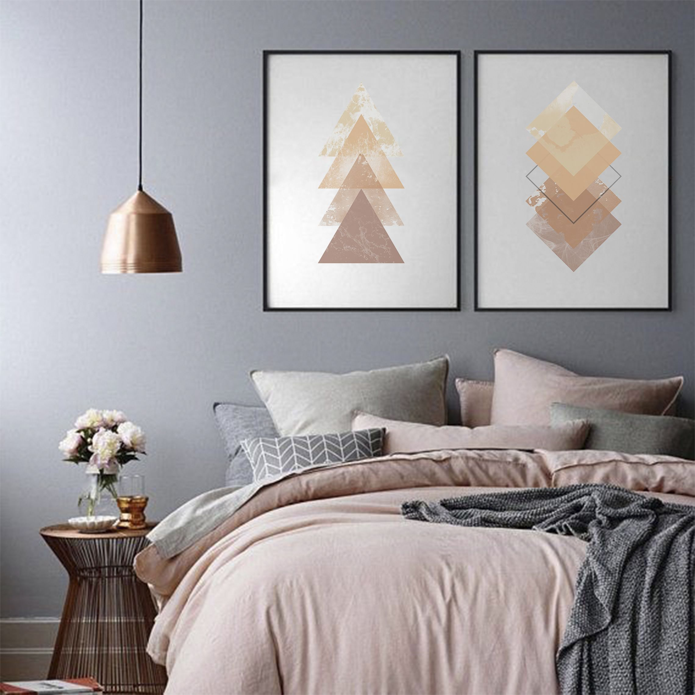 Geometric printable wall art digital print gold and brown