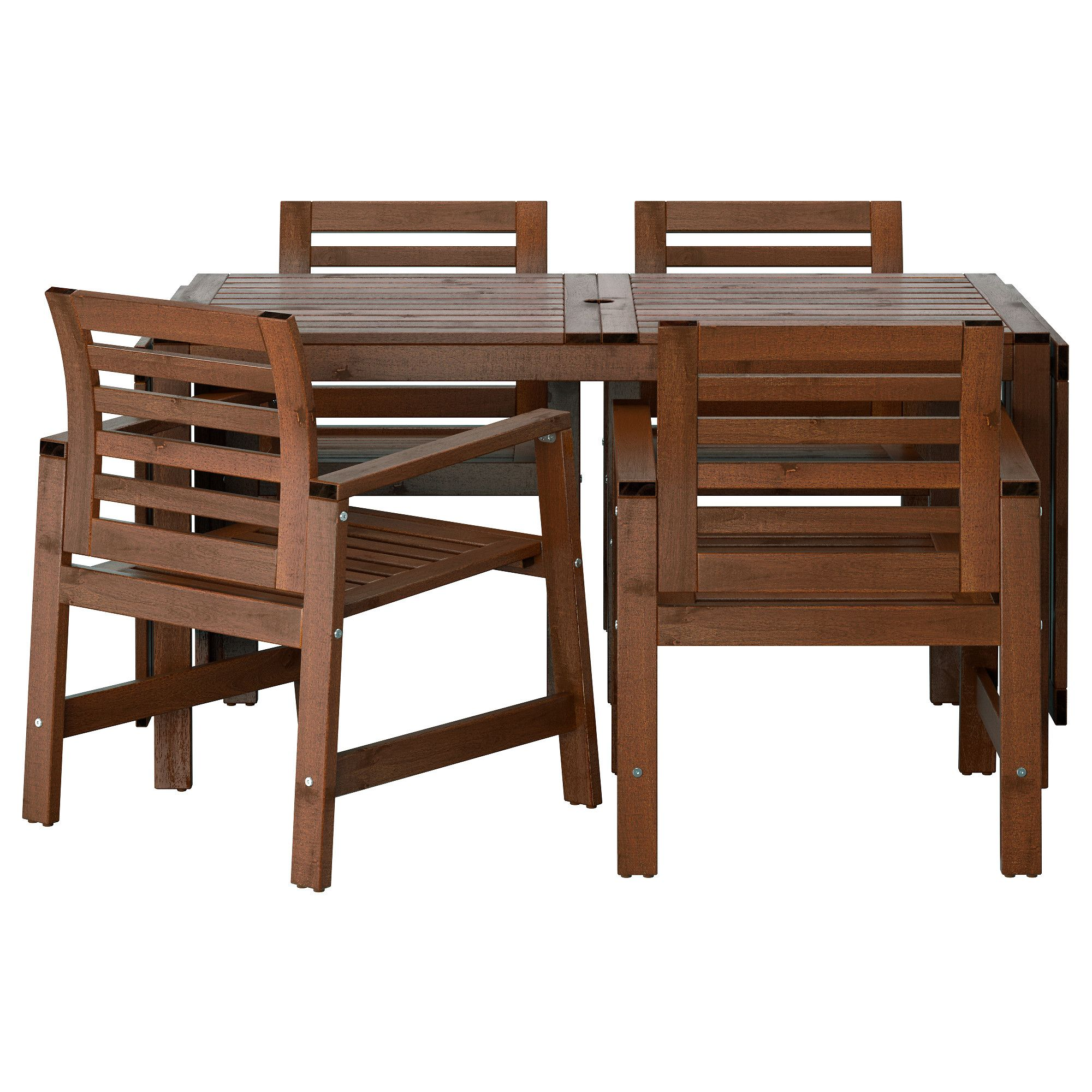 pplar table and 4 armchairs outdoor brown stained backyard pinterest gartenmoebel. Black Bedroom Furniture Sets. Home Design Ideas