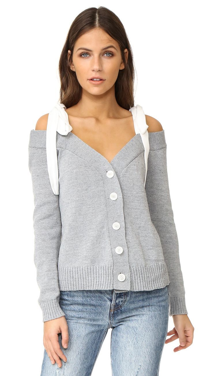 Off Shoulder Knit Cardigan With Tie