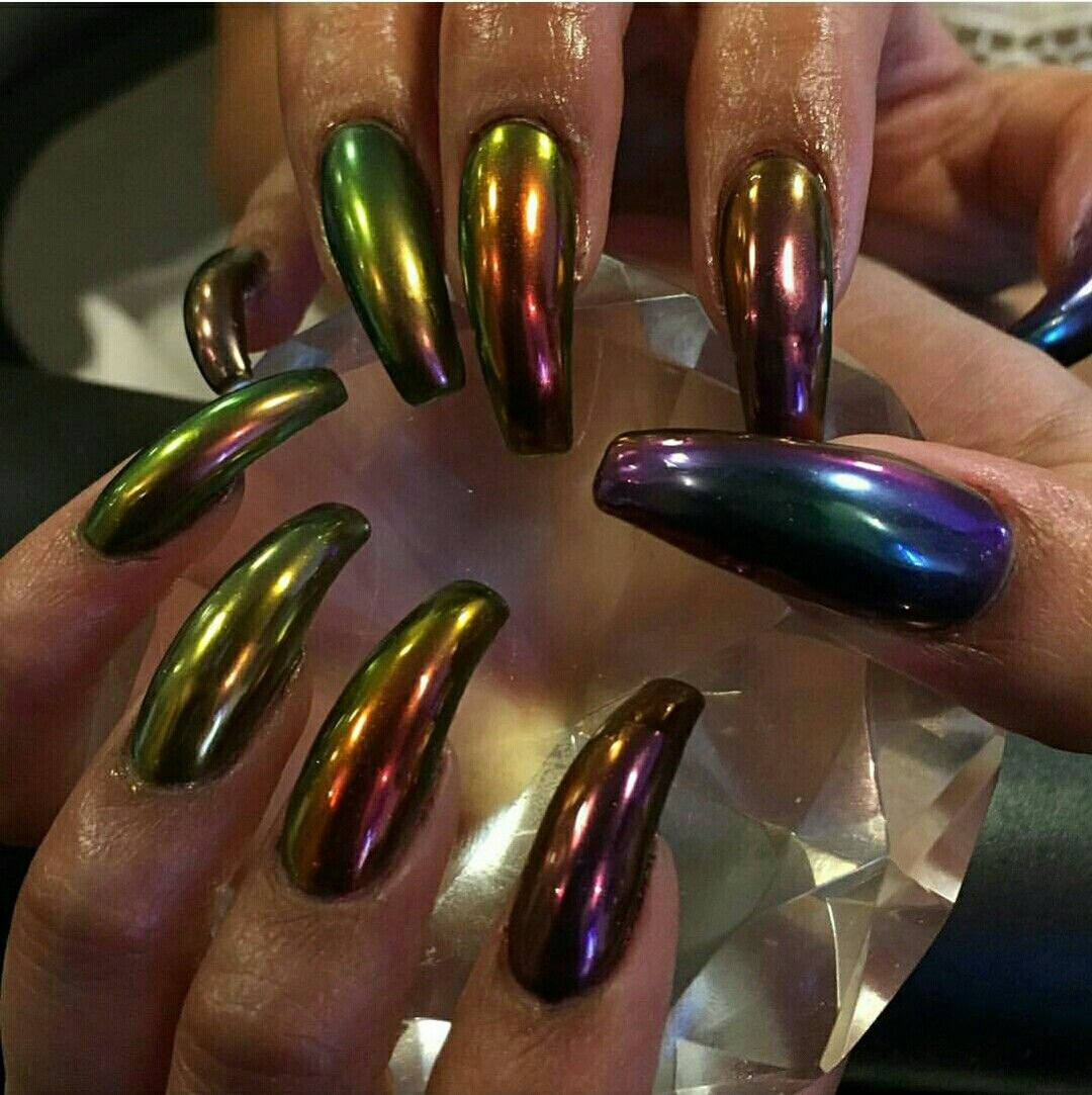 Oil slick nail polish