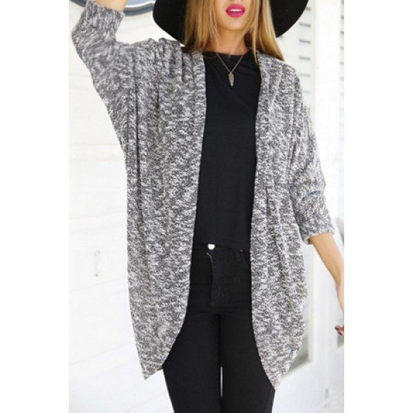 Wholesale Stylish Collarless 3/4 Sleeve Loose-Fitting Women's Cardigan Only $8.23 Drop Shipping | TrendsGal.com