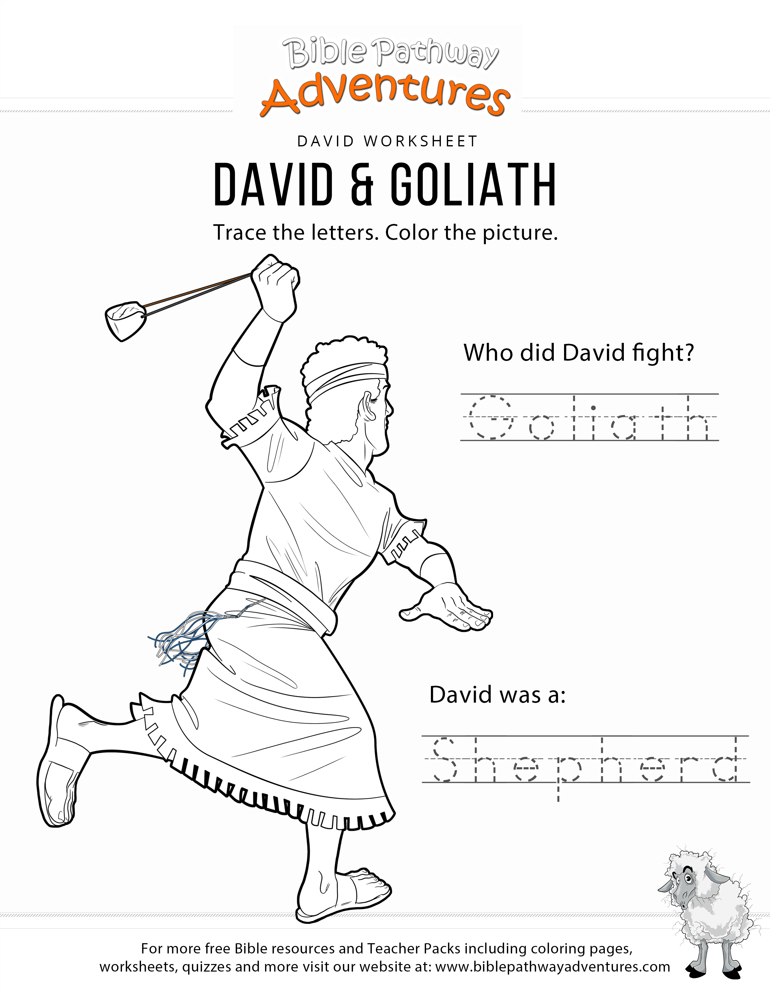 David & Goliath copy and coloring page | Bible lessons for ...