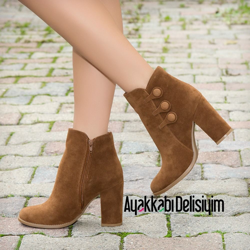 Linov Sik Taba Bot Bootie Brown Boots Fashion Moda In 2020 Thick Heel Boots High Knee Boots Outfit Brown Boots Fashion