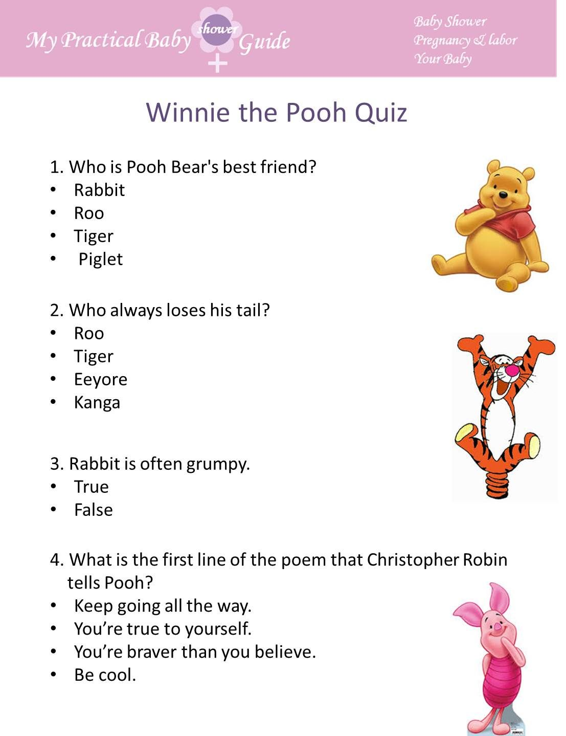 Free Winnie The Pooh Baby Shower Games