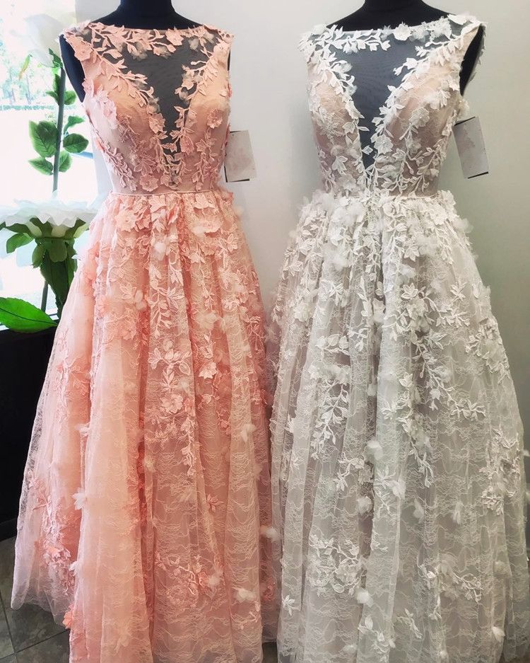 Red And White Lace Prom Dress: Lace Prom Dress,floral Lace Dress,pink Prom Dress,white