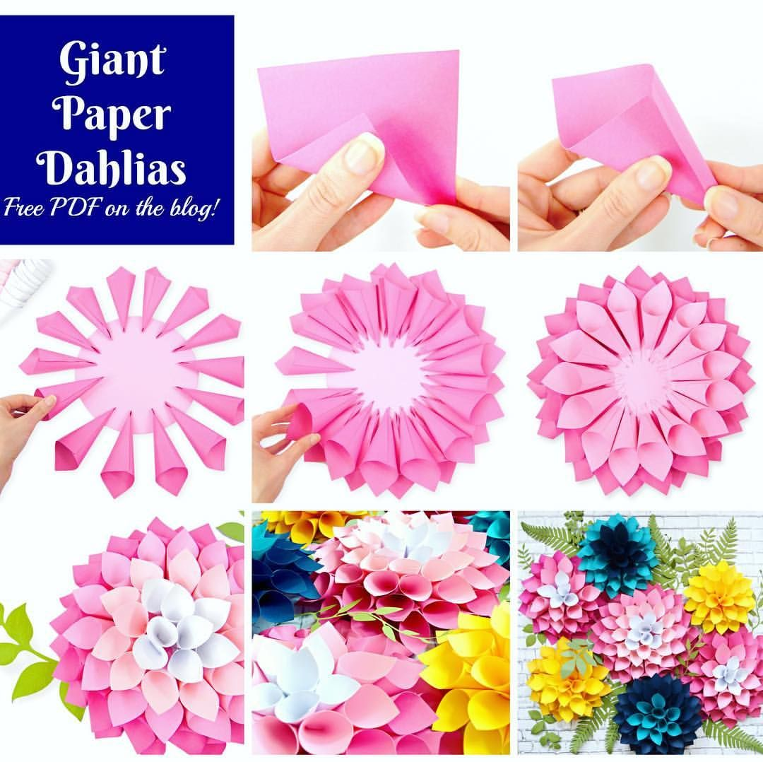Giant Paper Dahlia Flowers Diy Paper Flower Tutorial Abbi Kirsten Colle Paper Flower Templates Free Printable Free Paper Flower Templates Paper Flowers Craft