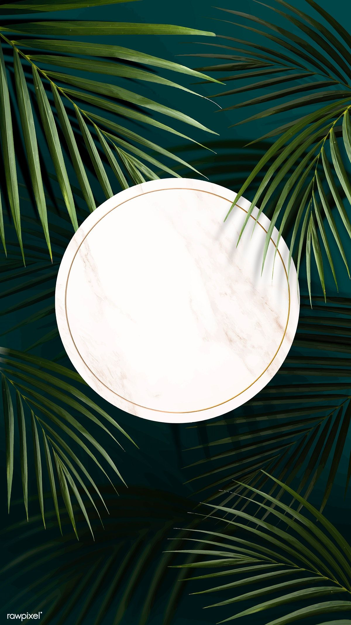 Download premium vector of Round golden frame on a tropical background