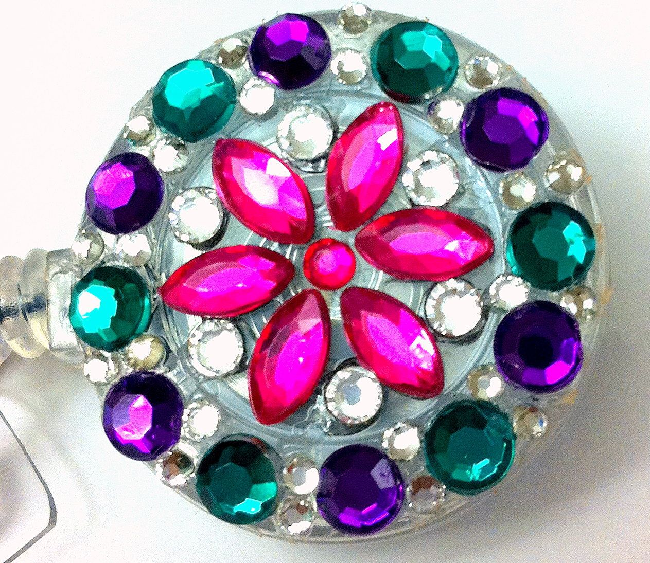 Pink and Multi-Colored Swarovski Crystal & Rhinestone Flower Embellished Retractable Name Tag ID Badge Reel
