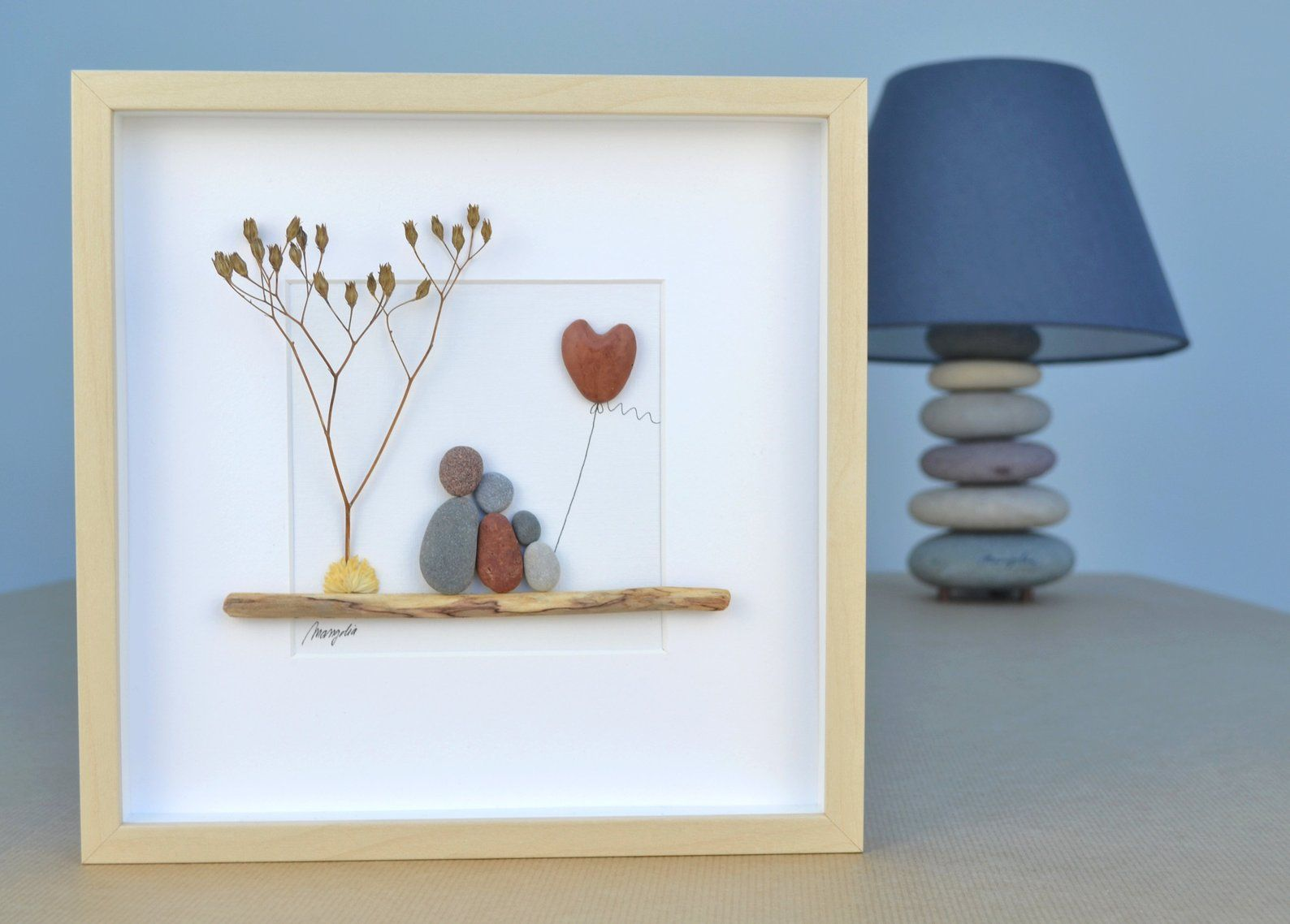 Pebble art picture Family Of 3