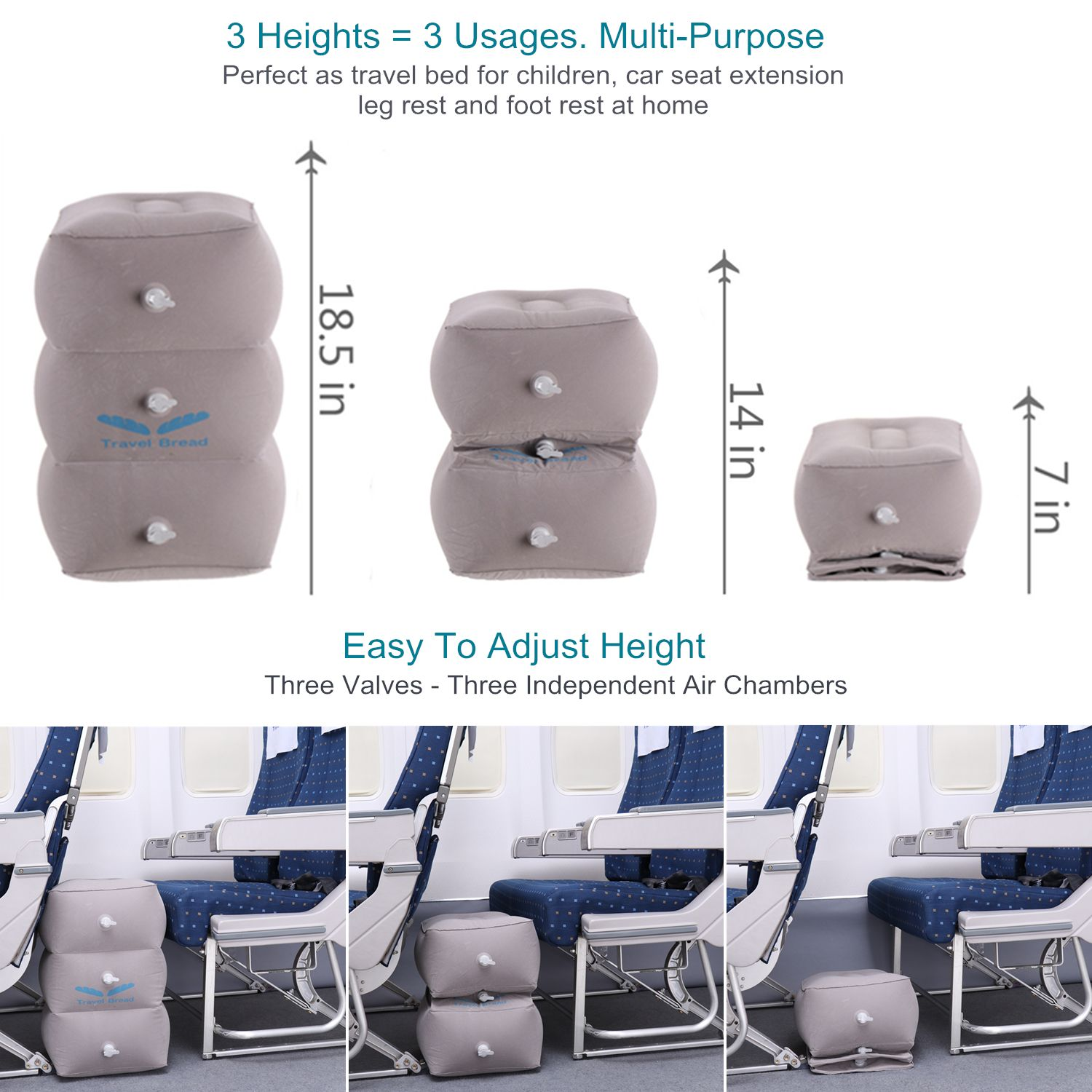 adjustable height airplane foot rest