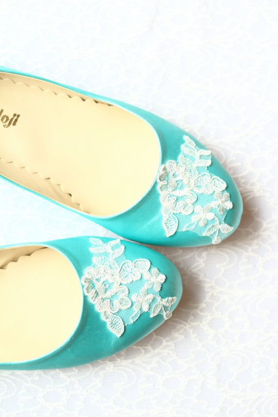 f77f2d2ae50 Wedding Flat Shoes Turquoise Blue Satin Bridal Ballet Flats with Lace Bride  Engagement Special Night Size 8 (US)