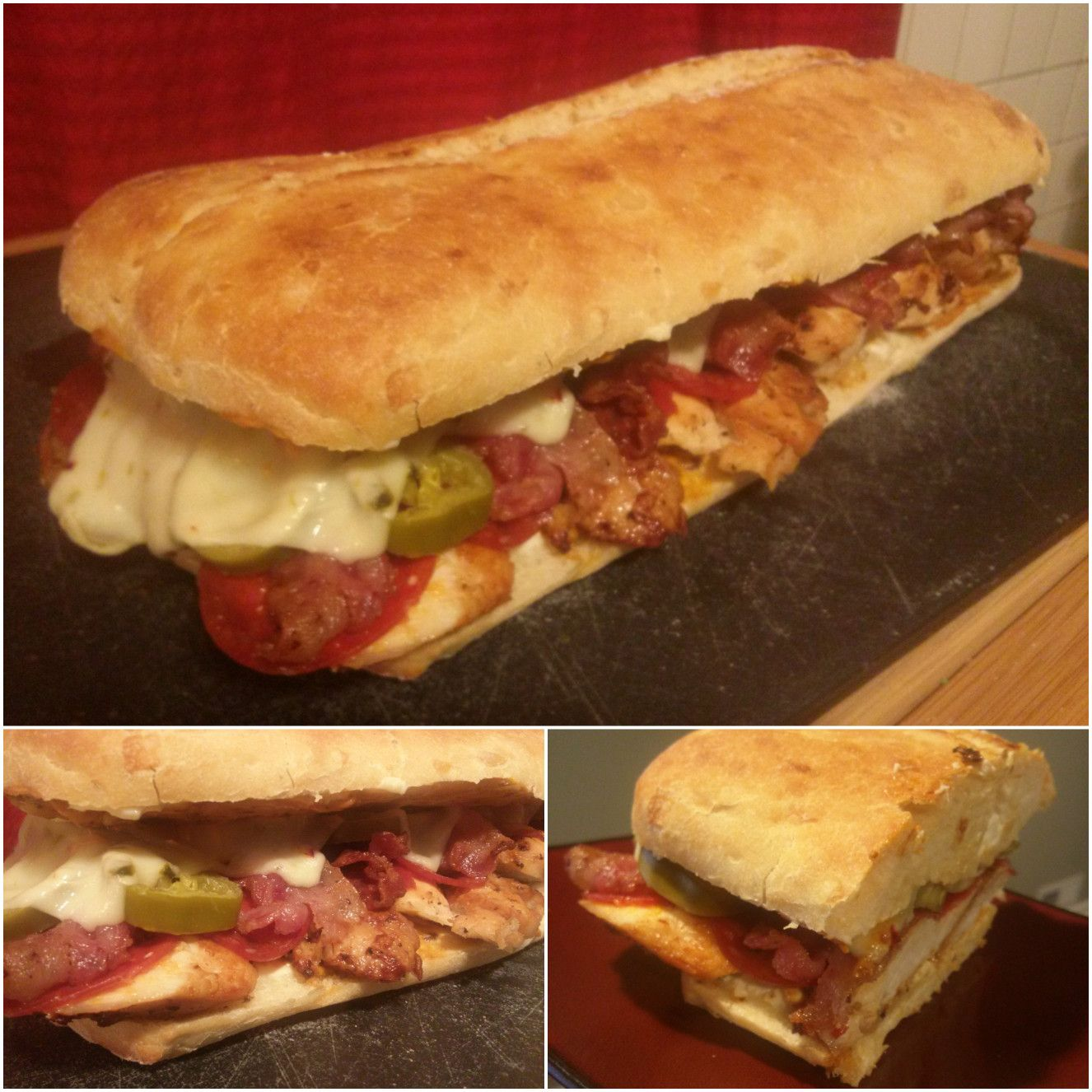 The Experience: garlic ciabatta, chicken, bacon, pepperoni, jalapenos, pepper jack cheese, cream cheese & chipotle mayo. A Planet Sub copycat recipe gone oh so right!
