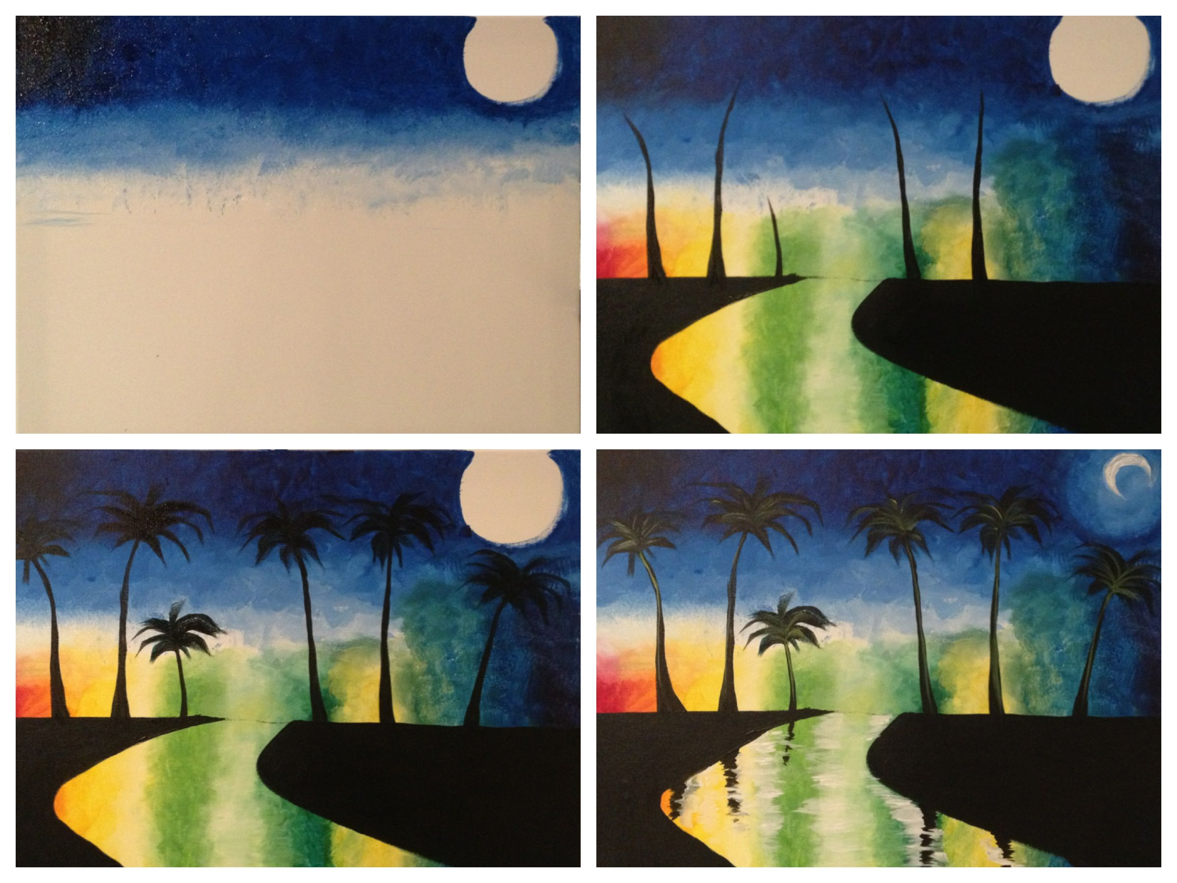 """Evolution of """"Midnight in Miami"""" painted Painting with a"""