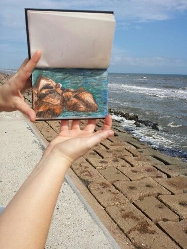 My sketch at the beach in Galveston