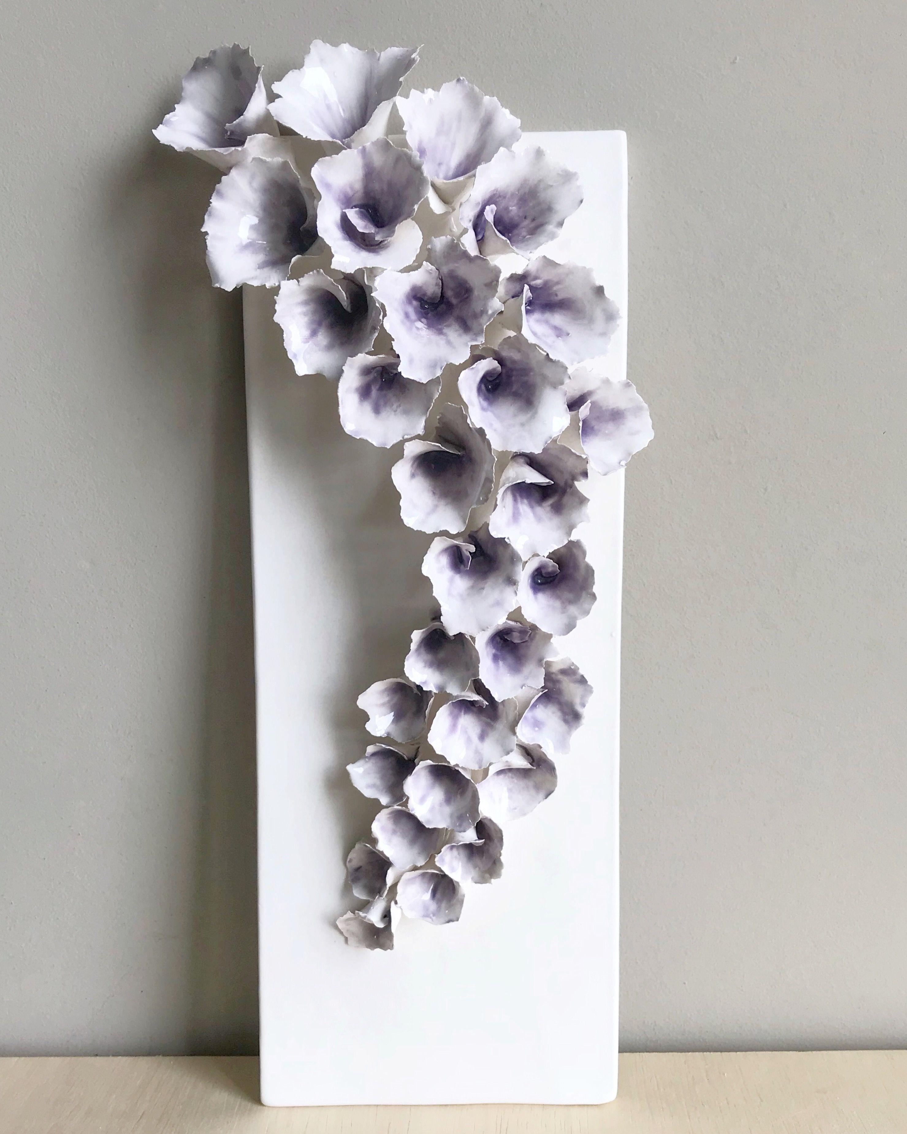 Ceramic Wall Flower Decor: ArtByJenF, Ceramic Plaque, Flower Art, Wall Art, Home