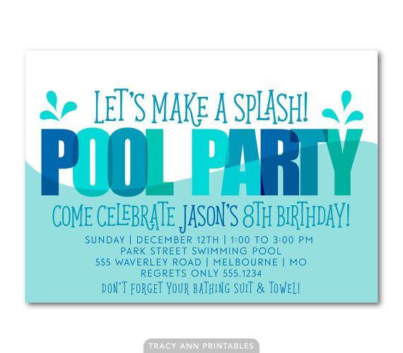 Pool Party Birthday Invitation Printable Birthday Invitation