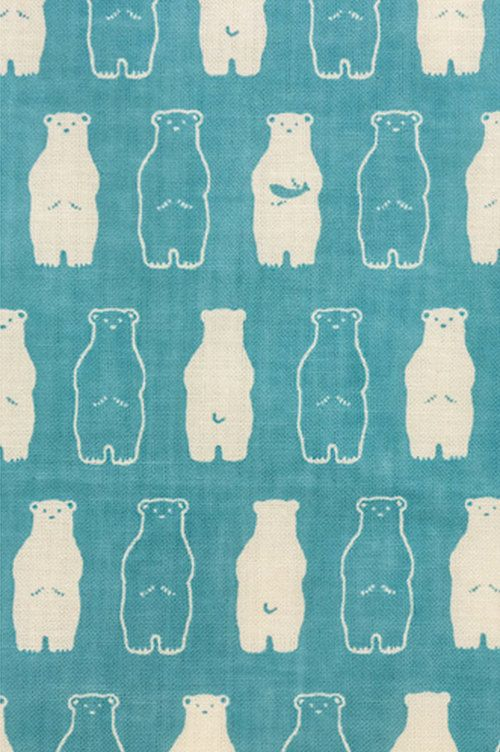 Japanese Tenugui Towel Cotton Fabric, Kawaii White Bear, Polar Bear, Animal Pattern, Wall Art Hanging, Gift Wrapping, Headband, Scarf, h315