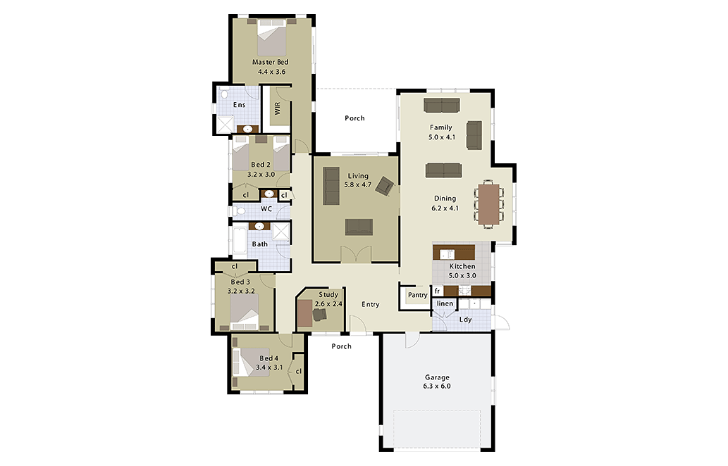 sonata 4 bedroom home plan landmark homes builders nz - House Plans Landmark Homes New Zealand