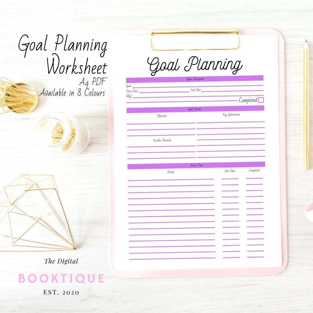 Goal Planning Worksheet Small Business Planner Digital