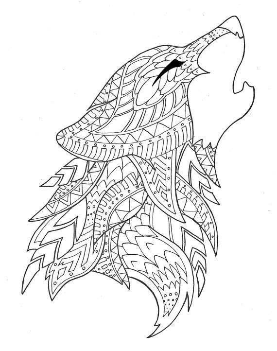 wolf coloring page by on Etsy Adult