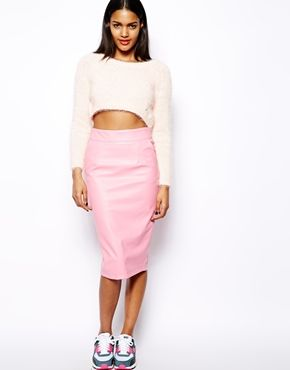 Image 1 of River Island Leather Look Pencil Skirt | Shopping ...