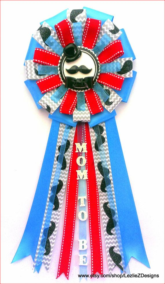 Little Man Gentleman Mom To Be Baby Shower Corsage Mustache Pin