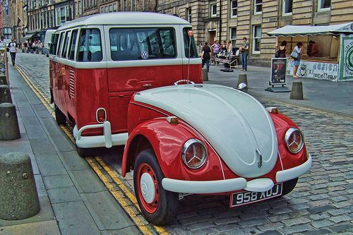 VW with bug trailer.