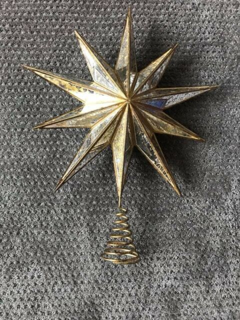 Pottery Barn Large Gold Mirrored Star Tree Topper Vintage