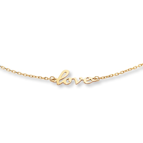 Love Anklet 10k Yellow Gold 10 Adjustable Anklets Gold Gold Necklace