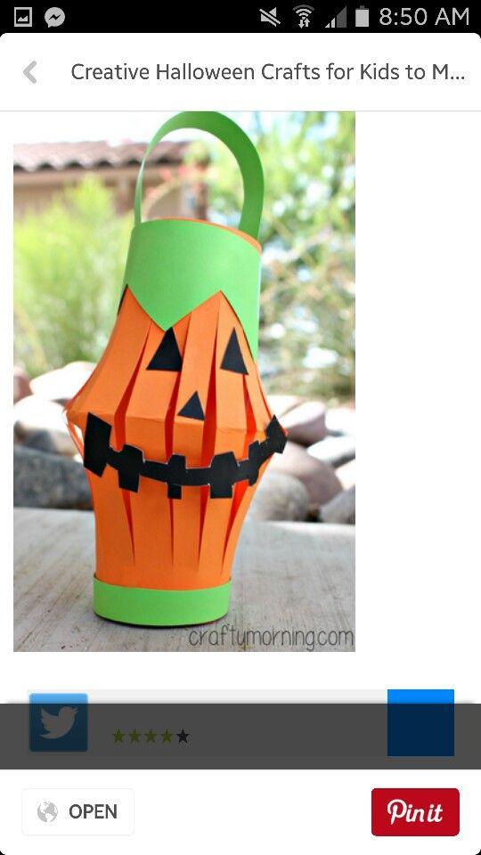 pumpkin lanterns Halloween art ideas for kids Pinterest Craft - easy homemade halloween decorations for kids