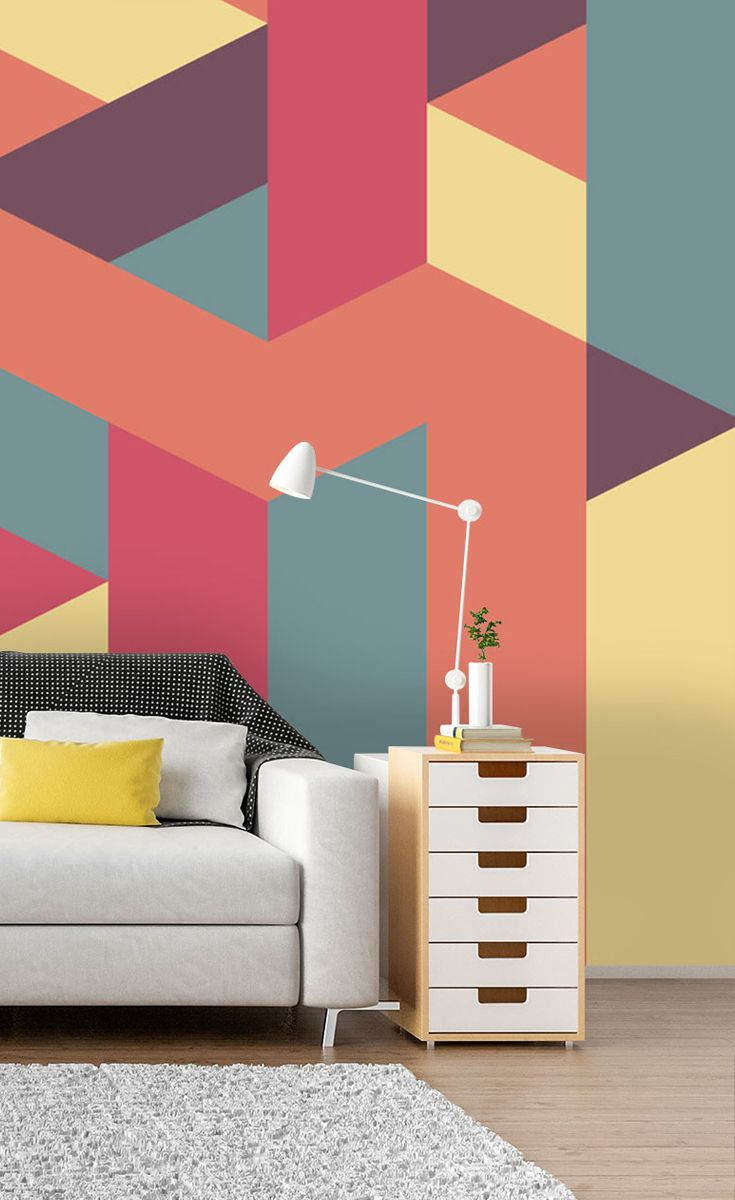 Hang This Symmetrical Geometrical Wallpaper Mural In Your Living Room To Create An Amazing Feature Bedroom Wall Designs Wall Decor Bedroom Geometric Wall Paint