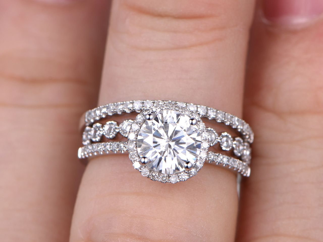 3pcs Moissanite Wedding Ring Set Diamond Matching Band White Gold ...